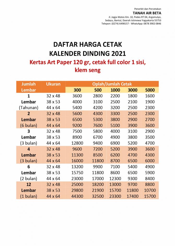Daftar Harga Cetak Kalender Dinding 2021 Kertas Art Paper 80gr , cetak full color 1 sisi, klem seng