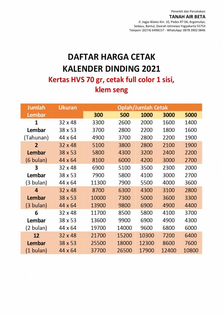 Harga Cetak Kalender Dinding 2021 Kertas HVS 80 Gr Cetak Full Color 1 sisi klem seng