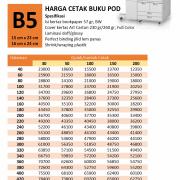 Harga Cetak Buku POD Print on Demand B5 Kertas HVS 57 gram Cover Art Carton 230/260 gram